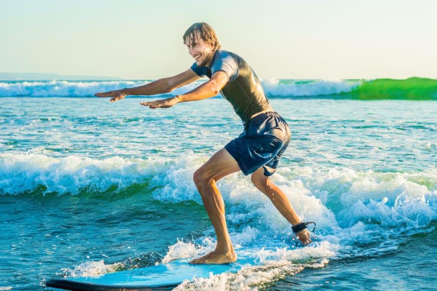 Surfing lesson in Santa Cruz