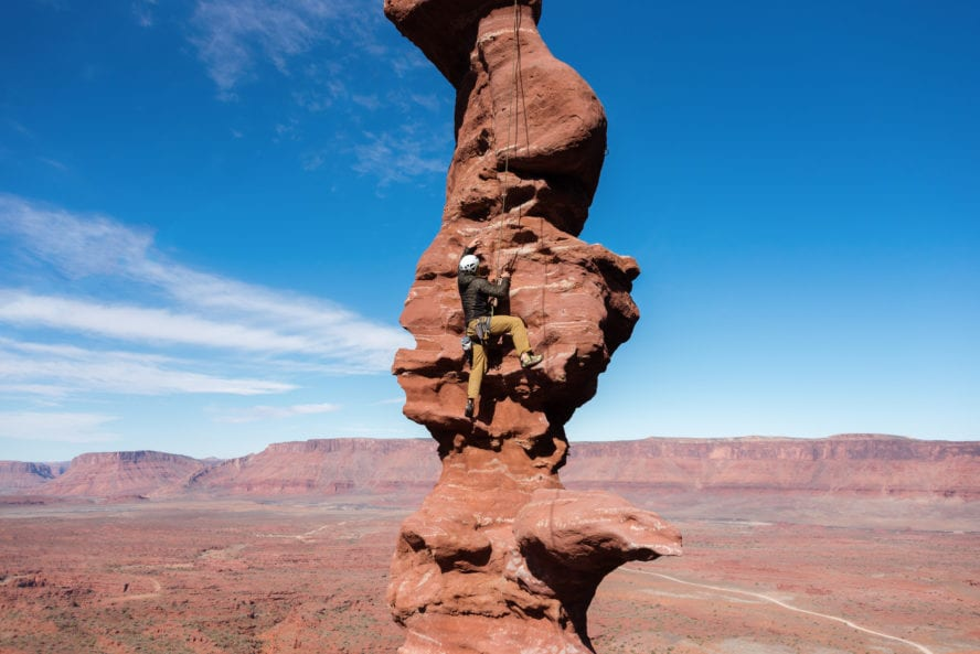 Rock Climber at Fisher Towers