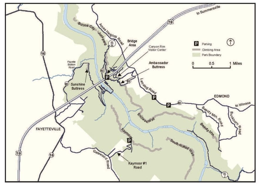 Climbing map New River Gorge