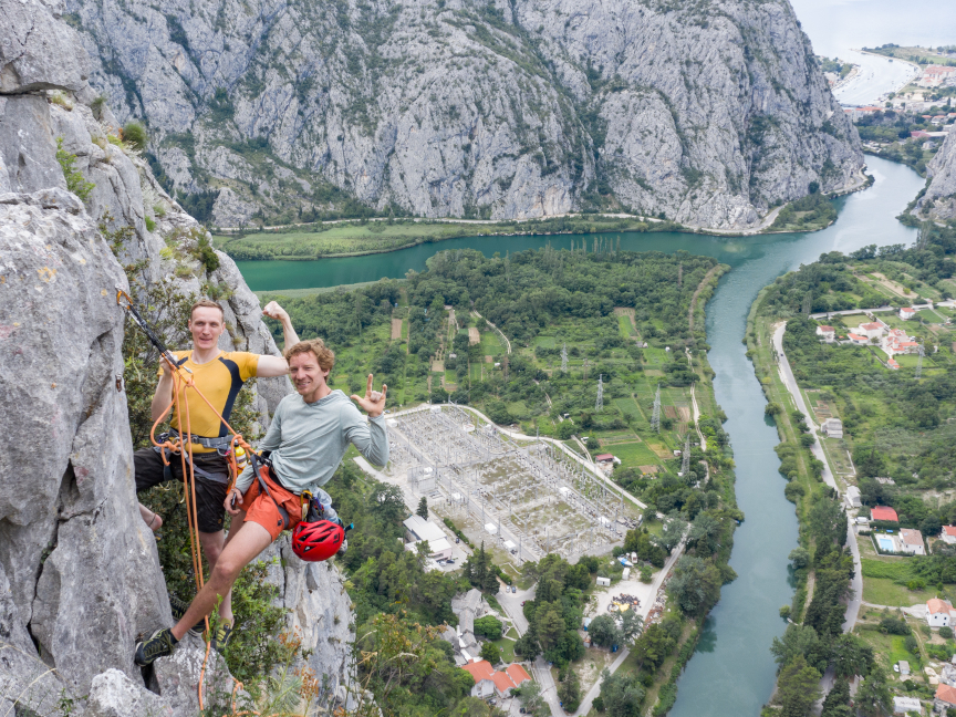 Founders Perica Levatic and Viktor Marohnic climbing in Omiš, Croatia in 2020 during one of their traditional annual 57hours retreats.