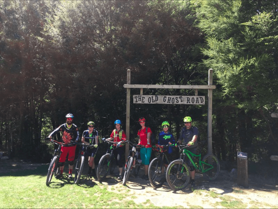 A group of riders prepares to take on the off grid trail, Old Ghost Road.