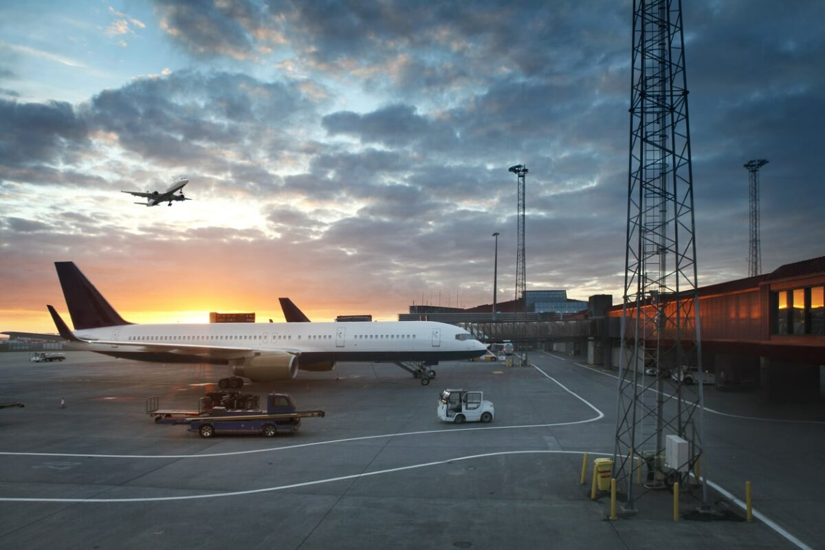 Iceland Airport in Keflavík with a sunset in the background