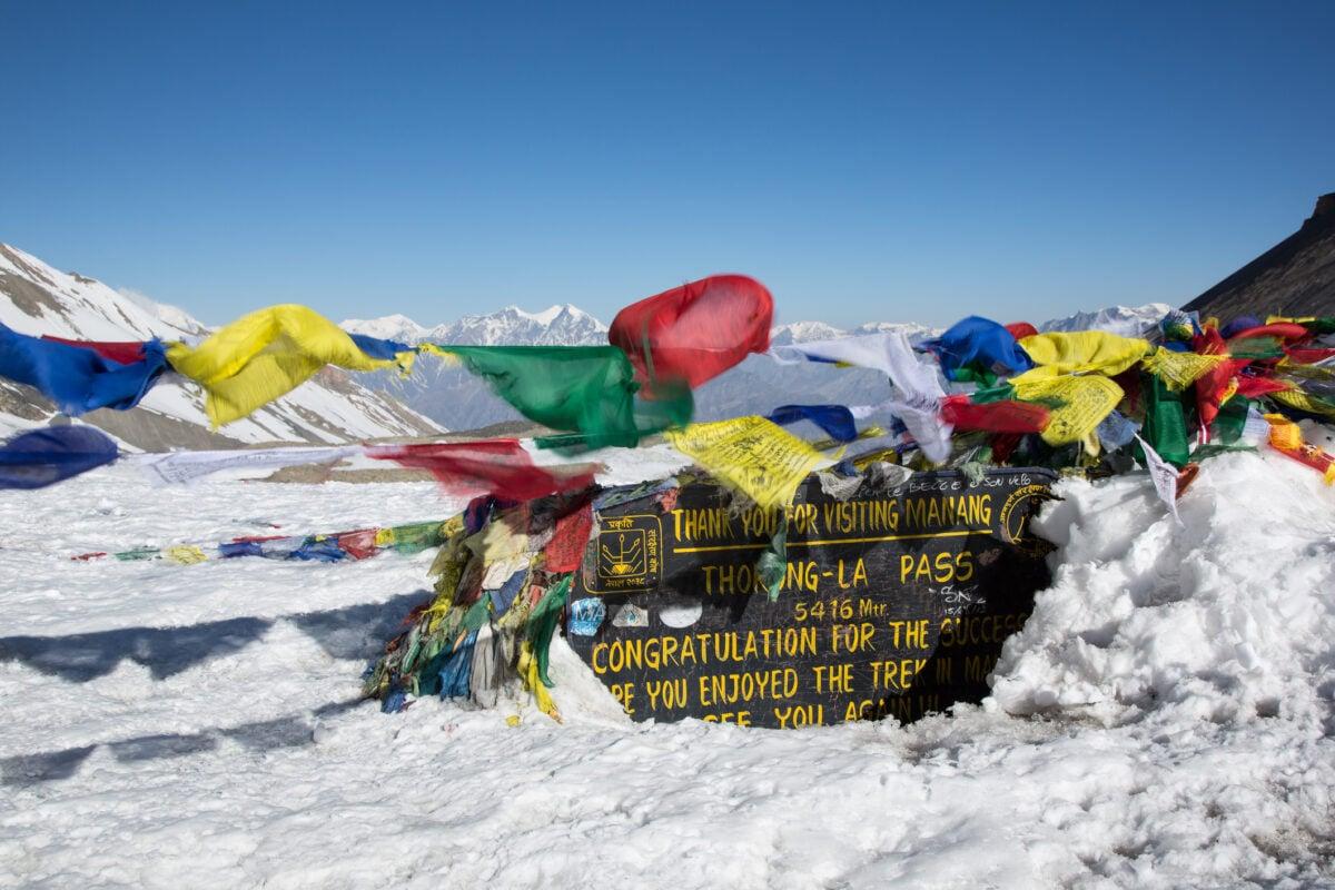 Hiking the Thorung La Pass and Tibetan Prayer Flags, Annapurna, Nepal