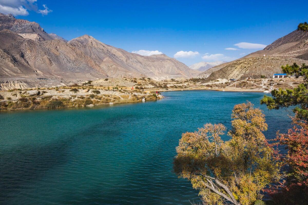 Hiking the Dhumba Lake in Jomsom, Nepal. Annapurna circuit trek