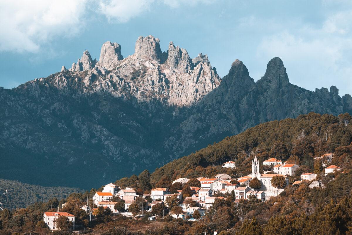 Bavella mountains and Zonza village, Corsica island, France