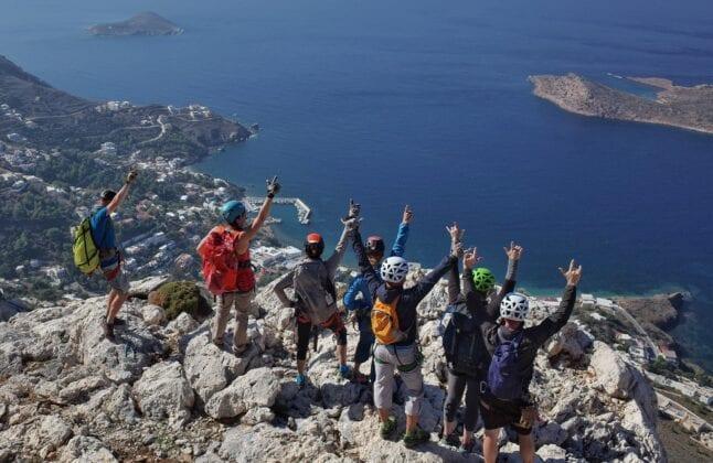 Group of Climbers above the Sea - Kalymnos Rock Climbing