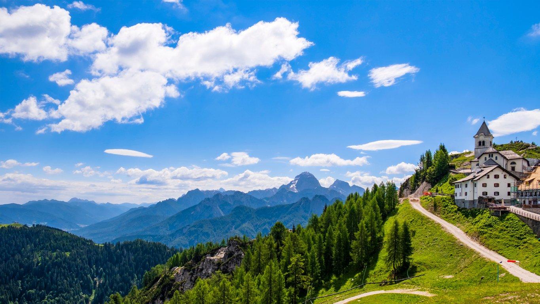 Village Lussari with the sanctuary on the Holy Mountain of Lussari (Monte Santo di Lussari) in the Julian Alps