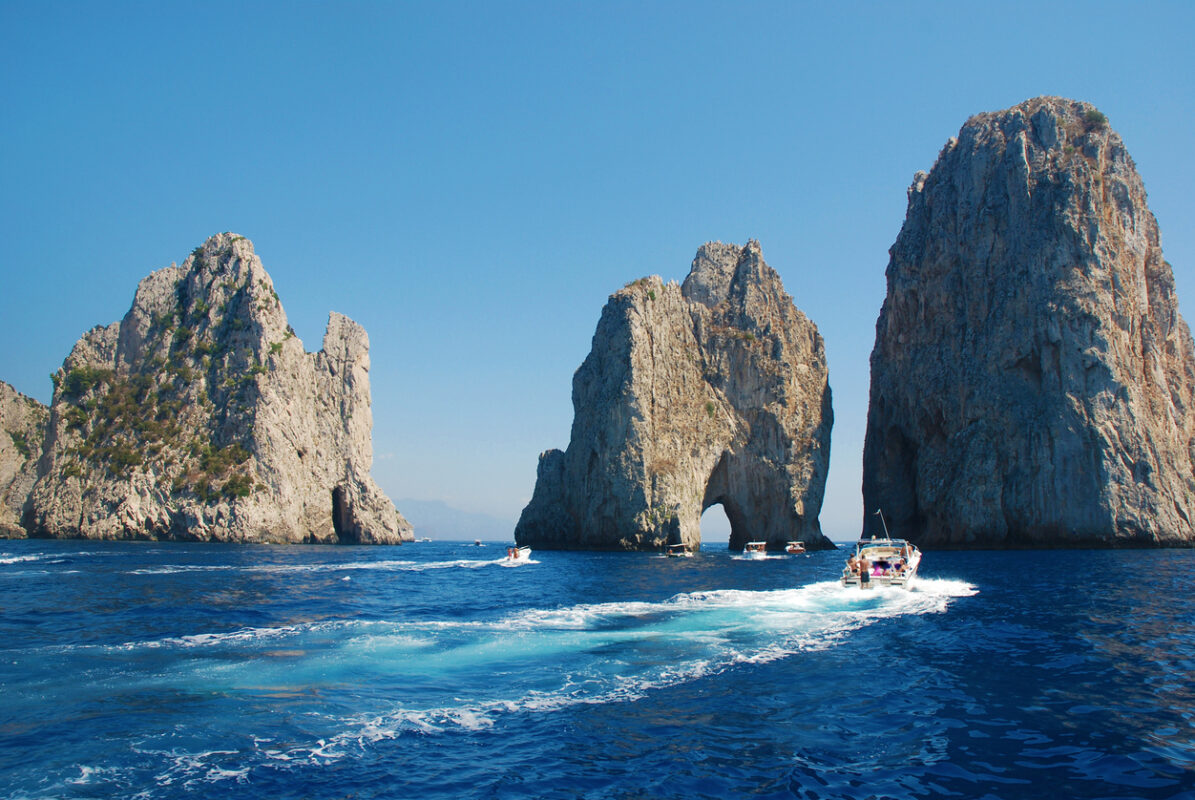 Faraglioni rocks of Capri island, famous touristic destination