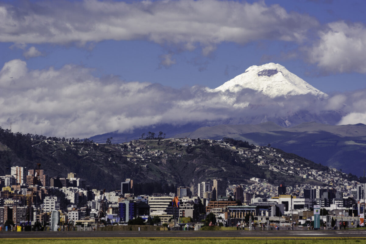 Cotopaxi Volcano View from Bicentennial Park (old airport Mariscal Sucre) in Quito-Ecuador