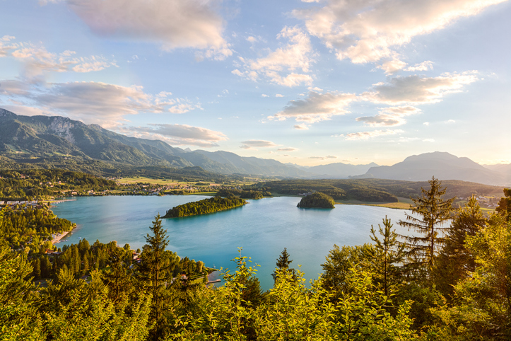 View of lake Faaker See in Carinthia, Austria