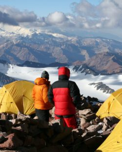 Alpine climbers acclimating at camp two of Aconcagua