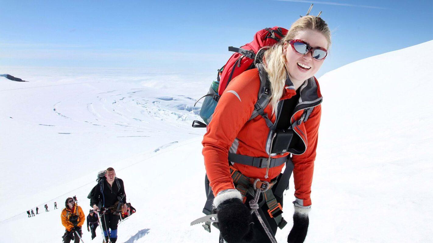Woman climbing the three peaks