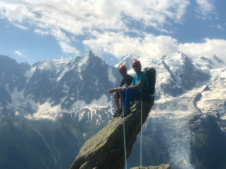 There's nothing better than taking clients out to the mountains—whether it's skiing, hiking, or hopefully now climbing!—and helping them achieve their goals. Photo courtesy of Greg Hill