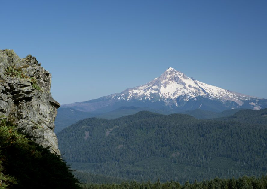 After climbing and topping out on French's Dome, you get clear views of Mount Hood rising starkly from the National Forest