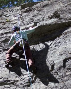 A person Rock climbing in Whitefish MT