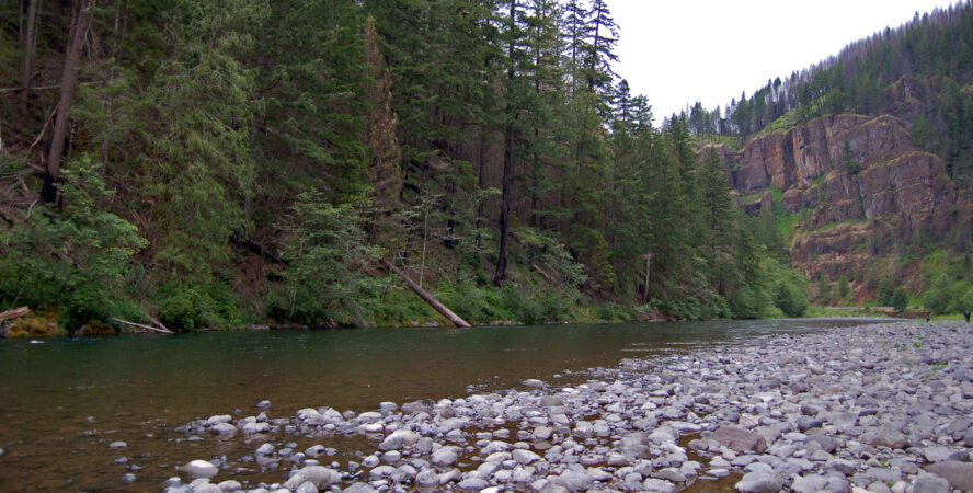 The Clackamas River is picturesque, and full of rock