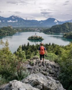 A person enjoying the panoramic views over lake Bled