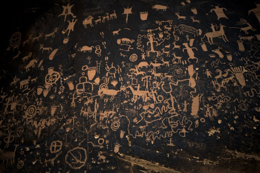 Newspaper rock, full of petroglyphs, is just over 50 miles south of Moab close to the entrance of Indian Creek. The rock has been added to by Natives for over 2,000 years.