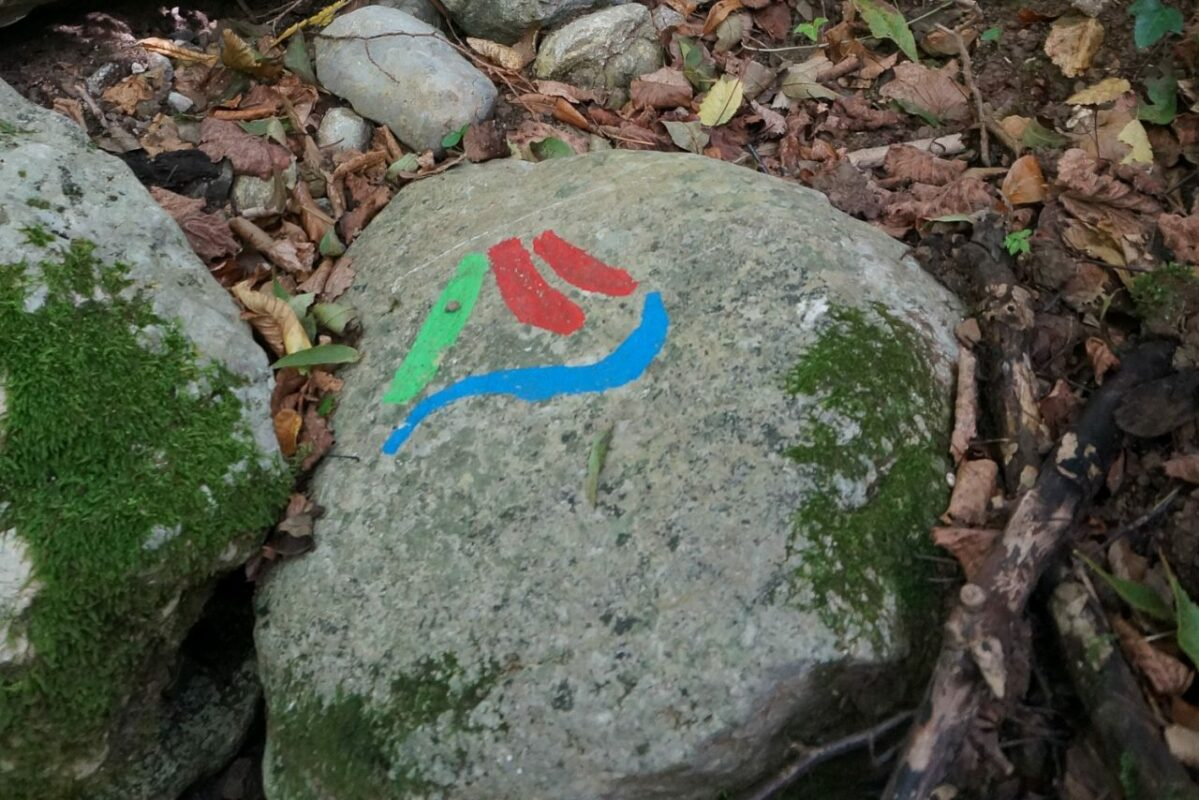 Rock with a colourful symbol on the Alpe Adria Trail