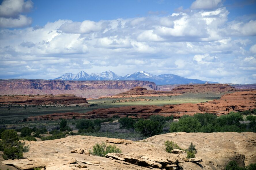 Looking west from Canyonlands National Park to Indian Creek and the La Sal Mountains.