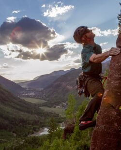A climber on the cliffs of Telluride