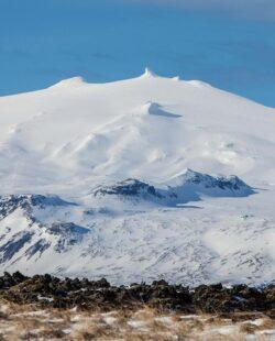 Peak of the volcano in Iceland