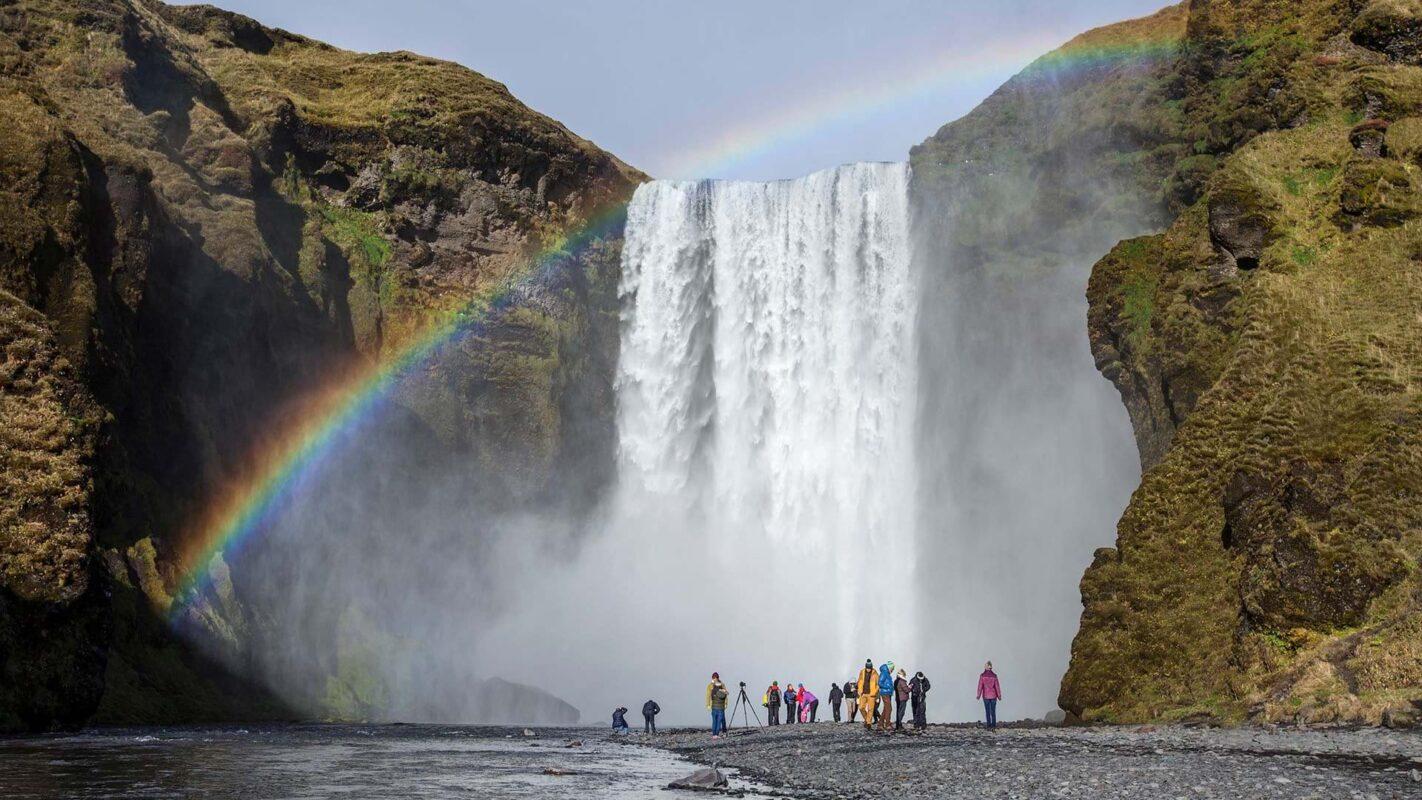 Rainbow over a stunning waterfall
