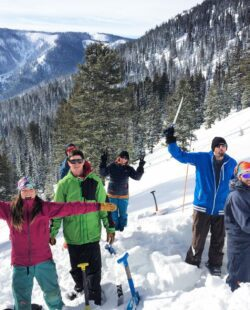 Participants learning about avalanche awareness in RMNP