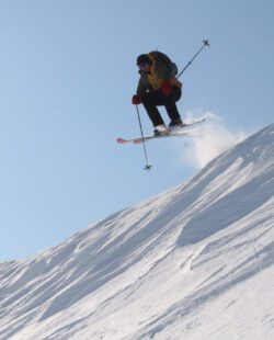 A skier jumping