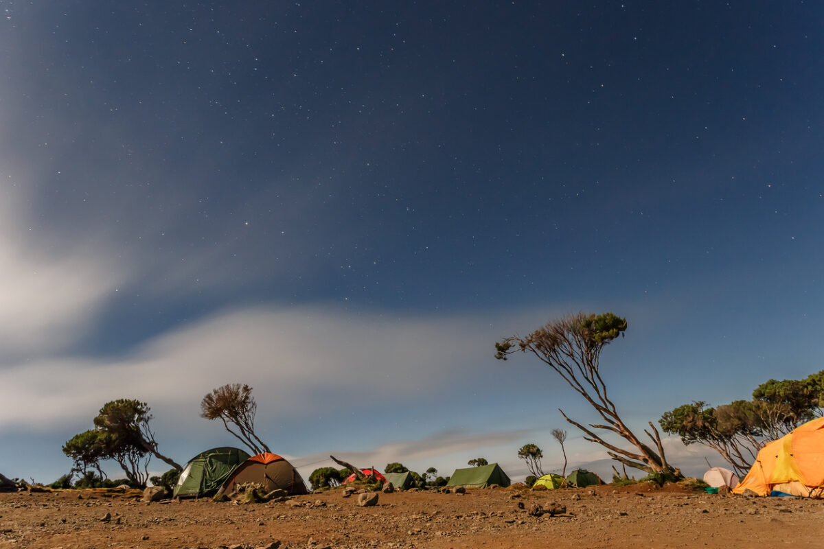 Climbing the mount Kilimanjaro, Machame route - night view over the Shira hut (3766m) campsite (Tanzania)