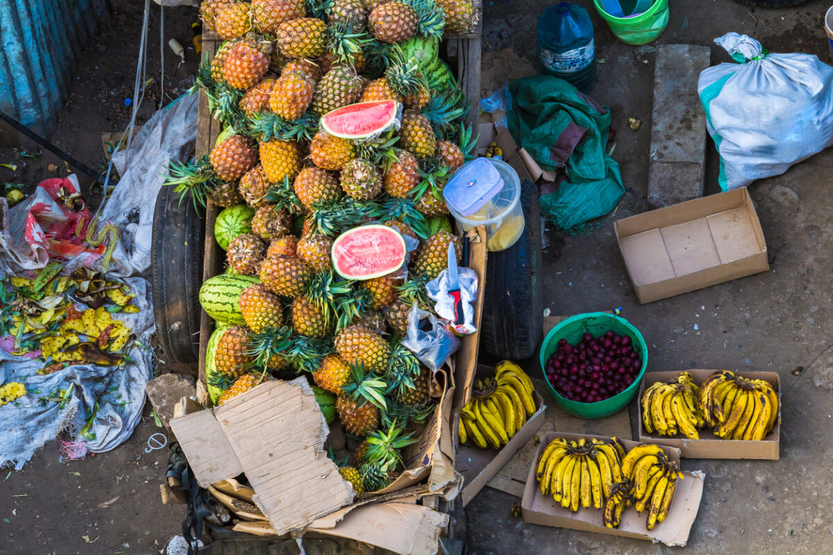 Fruits for sale on Arusha street. Tanzania.