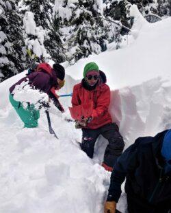 Participants practicing avalanche rescue