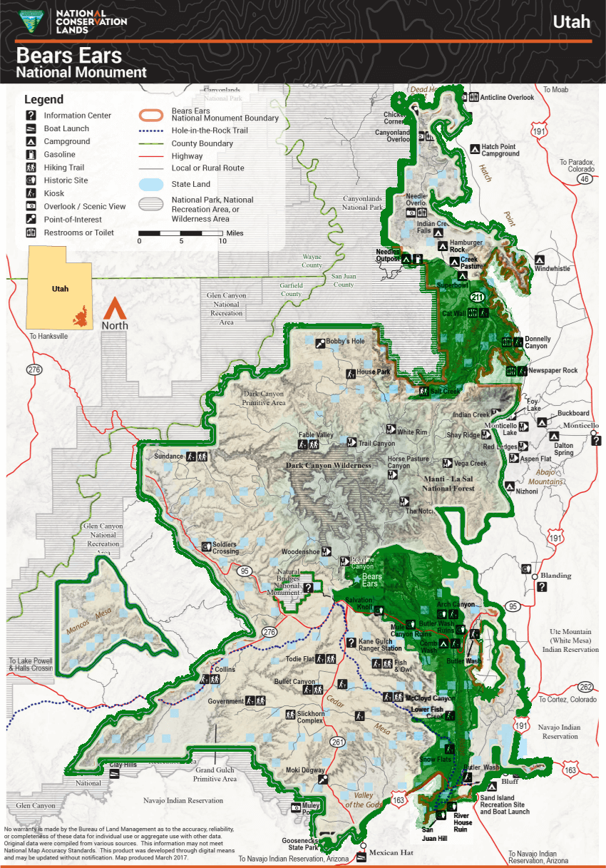 The map of the Bears Ears National Monument.