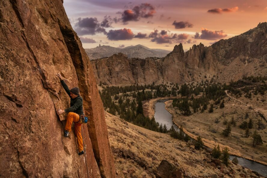One of the Seven Wonders of Oregon, Smith Rock's welded tuffs jut out of the valley below
