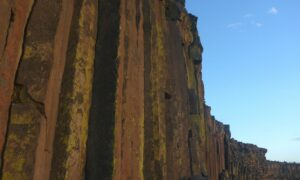 These columns, known as fault blocks, are the result of an ancient volcano and provide excellent climbing