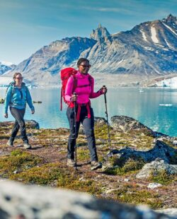 Women hikers hiking in Greenland